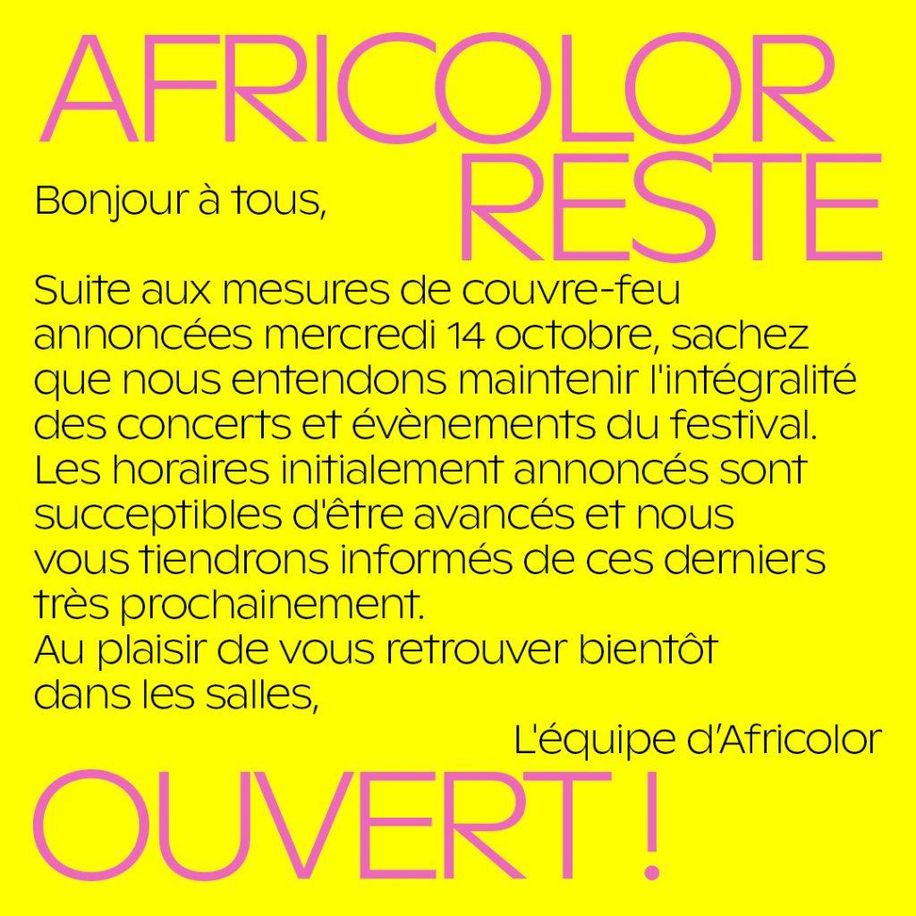 Couvre-feu : Africolor reste ouvert